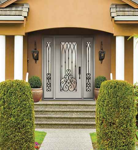 wrought iron glass door